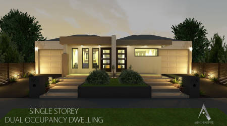 Dual occupancy home designs nsw house design plans for Single storey duplex designs